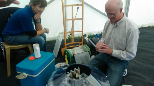 Backstage watching Phil Sterling check a moth trap before the show